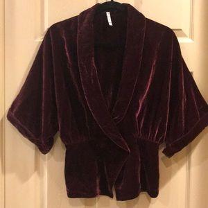 (S) Burgundy Crush Velvet Vest/Jacket